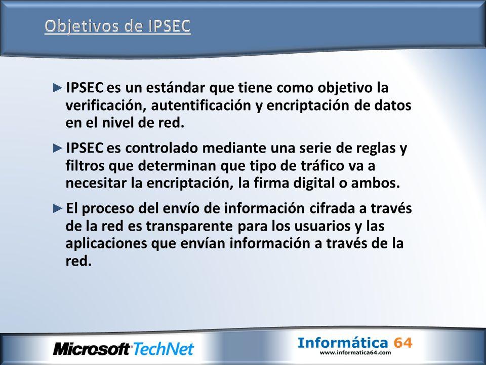 IPSEC es un estándar que tiene como objetivo la verificación, autentificación y encriptación de datos en el nivel de red. IPSEC es controlado mediante
