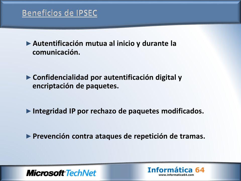 Autentificación mutua al inicio y durante la comunicación. Confidencialidad por autentificación digital y encriptación de paquetes. Integridad IP por