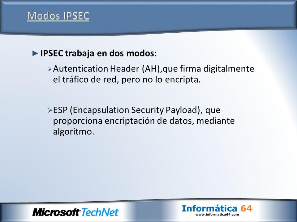 IPSEC trabaja en dos modos: Autentication Header (AH),que firma digitalmente el tráfico de red, pero no lo encripta. ESP (Encapsulation Security Paylo
