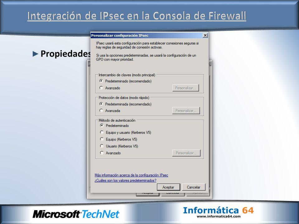 Propiedades generales de IPsec
