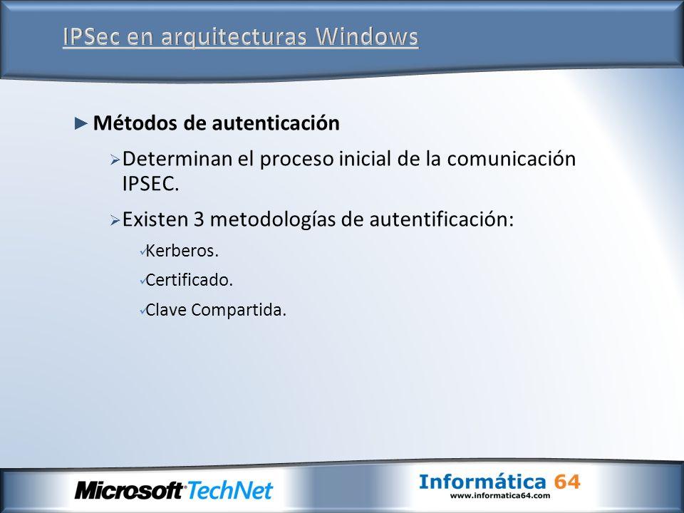 Métodos de autenticación Determinan el proceso inicial de la comunicación IPSEC. Existen 3 metodologías de autentificación: Kerberos. Certificado. Cla