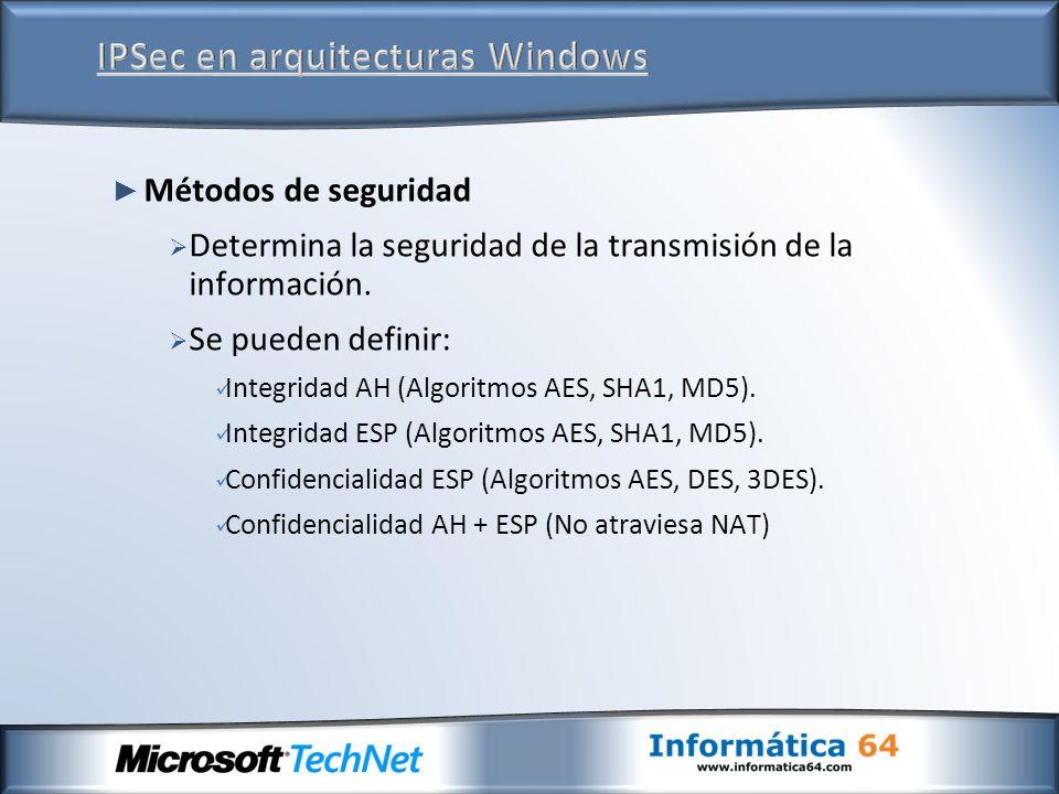 Métodos de seguridad Determina la seguridad de la transmisión de la información. Se pueden definir: Integridad AH (Algoritmos AES, SHA1, MD5). Integri