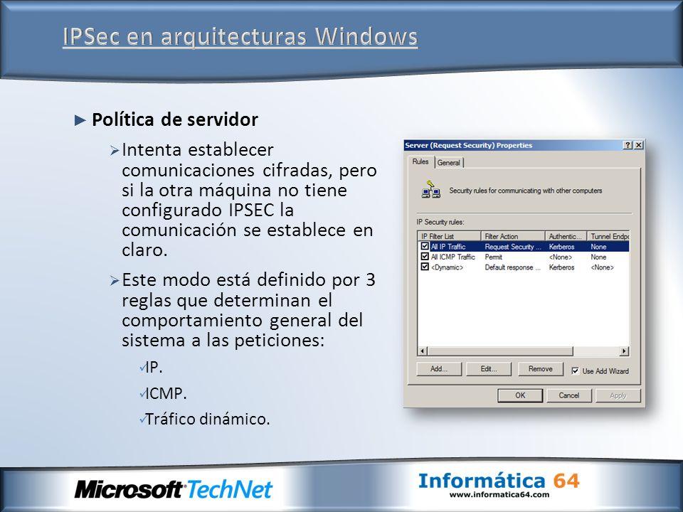 Política de servidor Intenta establecer comunicaciones cifradas, pero si la otra máquina no tiene configurado IPSEC la comunicación se establece en cl