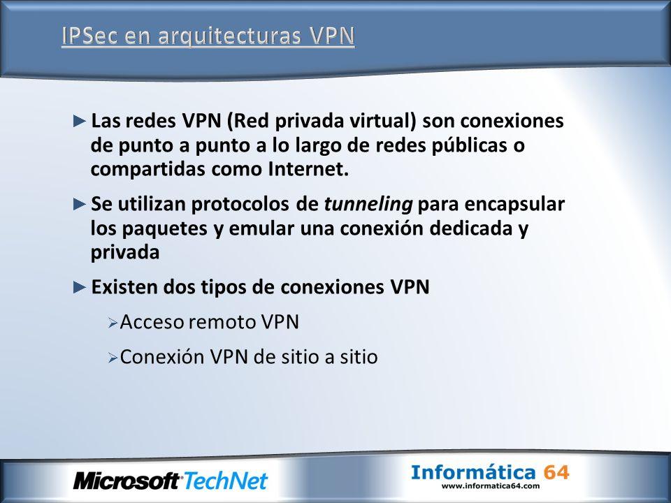 Las redes VPN (Red privada virtual) son conexiones de punto a punto a lo largo de redes públicas o compartidas como Internet. Se utilizan protocolos d