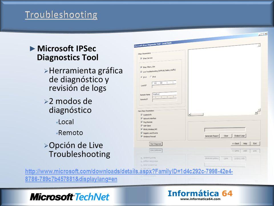 Microsoft IPSec Diagnostics Tool Herramienta gráfica de diagnóstico y revisión de logs 2 modos de diagnóstico Local Remoto Opción de Live Troubleshoot