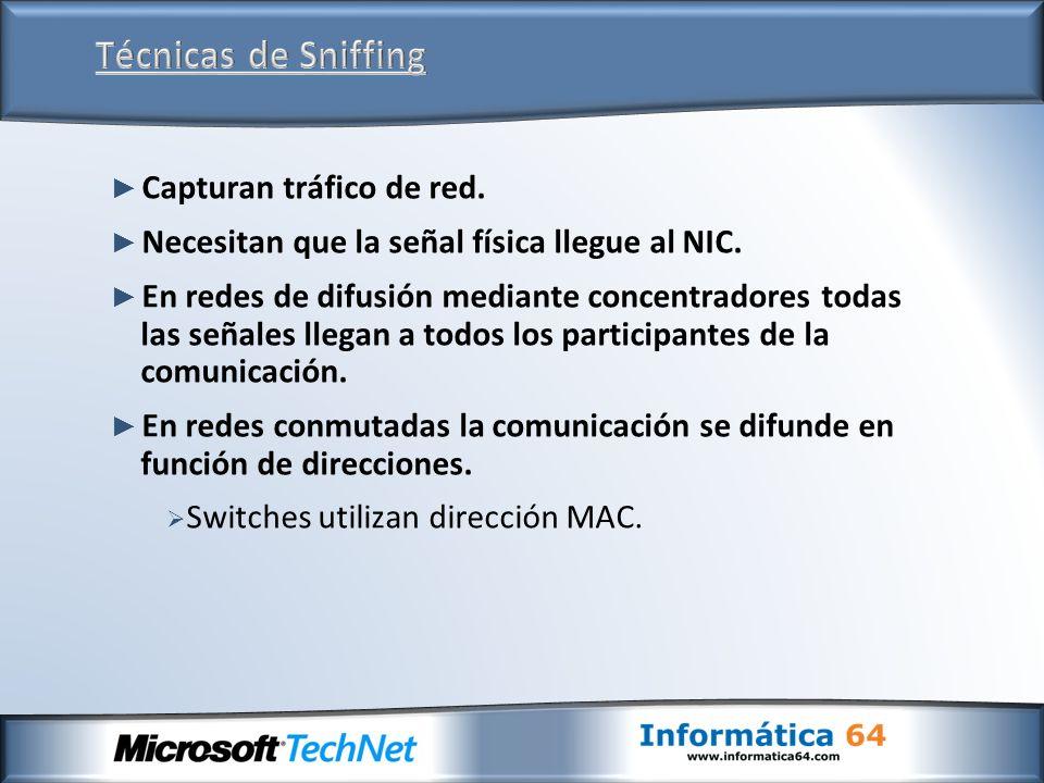 PC HACKER PC 1 PC 2 PC 3 PC 4 Sniffer Datos PC 4 filtrafiltra