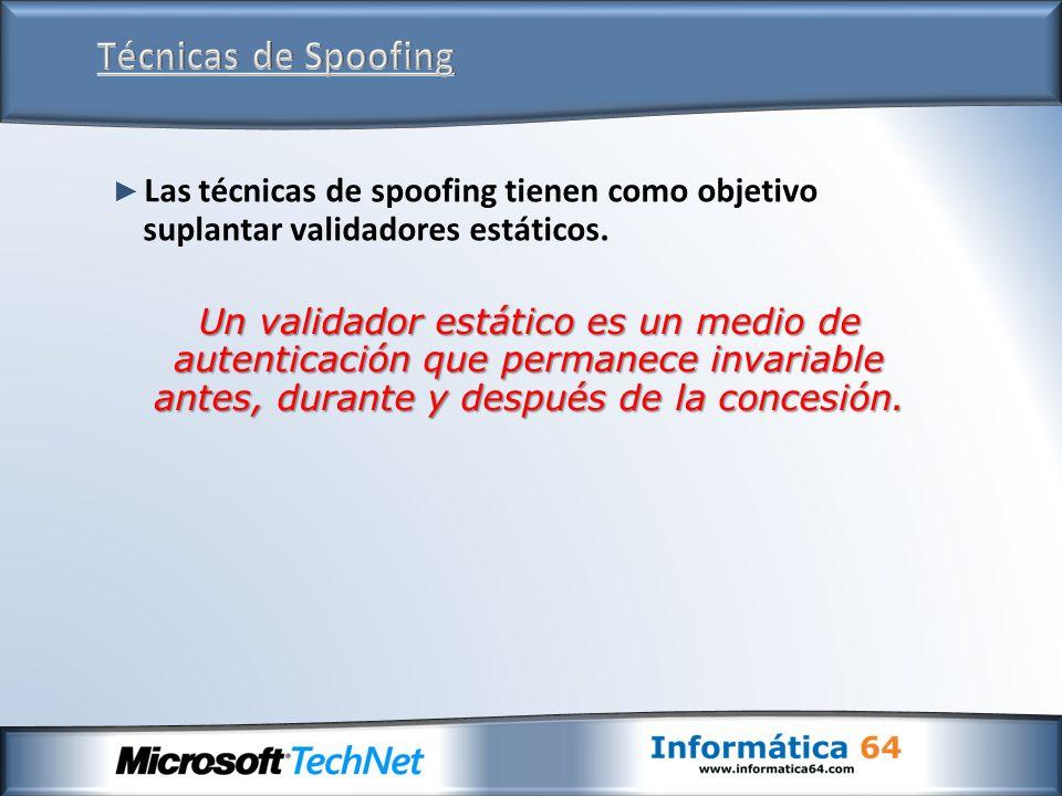 Las técnicas de spoofing tienen como objetivo suplantar validadores estáticos. Un validador estático es un medio de autenticación que permanece invari