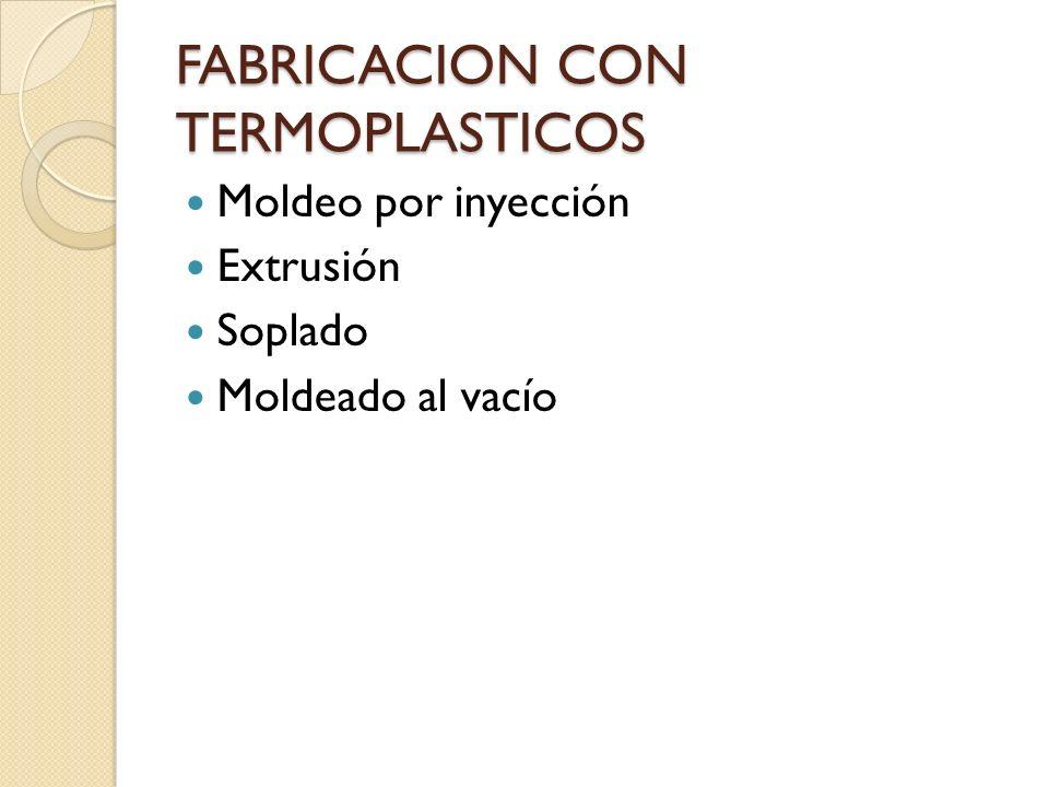 FABRICACION CON TERMOPLASTICOS Moldeo por inyección Extrusión Soplado Moldeado al vacío