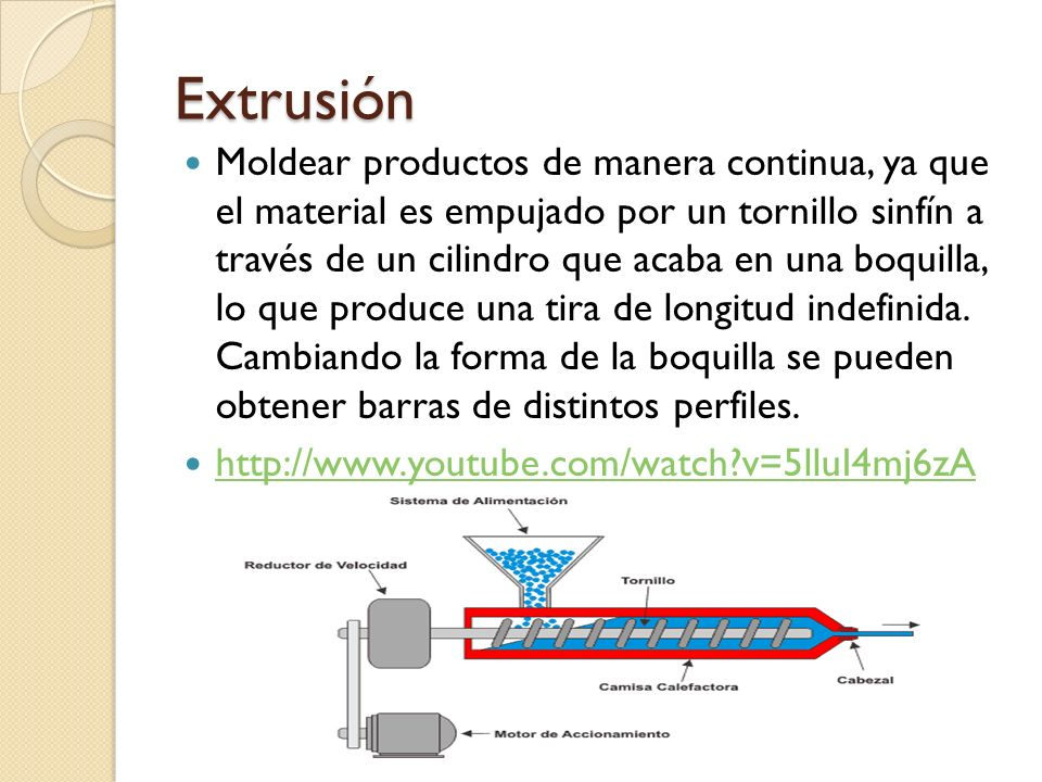 Extrusión Moldear productos de manera continua, ya que el material es empujado por un tornillo sinfín a través de un cilindro que acaba en una boquilla, lo que produce una tira de longitud indefinida.