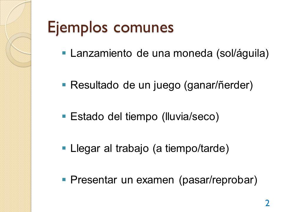 Ejemplos comunes Lanzamiento de una moneda (sol/águila) Resultado de un juego (ganar/ñerder) Estado del tiempo (lluvia/seco) Llegar al trabajo (a tiem