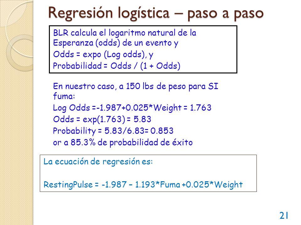 Regresión logística – paso a paso 21 BLR calcula el logaritmo natural de la Esperanza (odds) de un evento y Odds = expo (Log odds), y Probabilidad = O