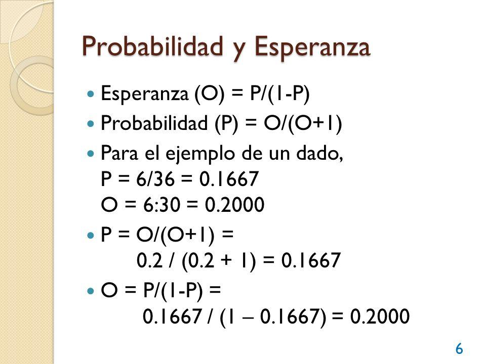 Probabilidad y Esperanza Esperanza (O) = P/(1-P) Probabilidad (P) = O/(O+1) Para el ejemplo de un dado, P = 6/36 = 0.1667 O = 6:30 = 0.2000 P = O/(O+1
