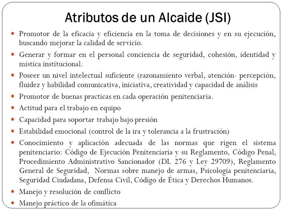 Atributos de un Alcaide (JSI) Promotor de la eficacia y eficiencia en la toma de decisiones y en su ejecución, buscando mejorar la calidad de servicio