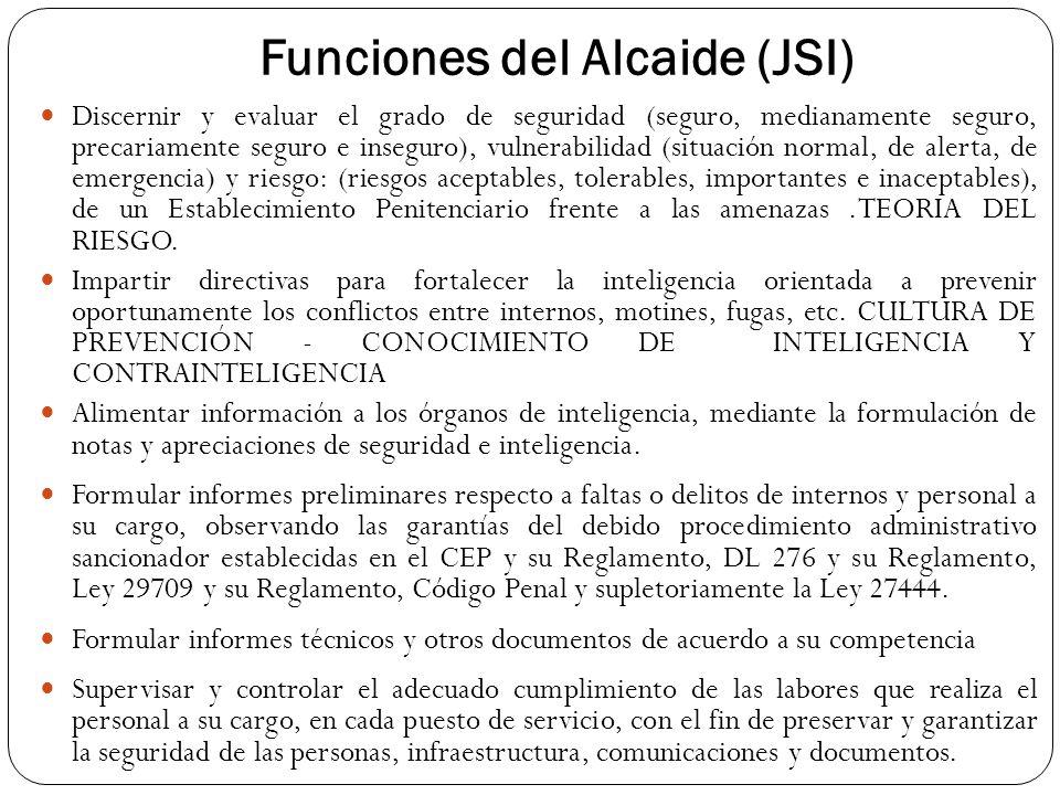 Funciones del Alcaide (JSI) Discernir y evaluar el grado de seguridad (seguro, medianamente seguro, precariamente seguro e inseguro), vulnerabilidad (