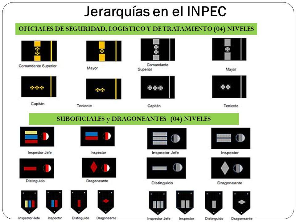 Jerarquías en el INPEC OFICIALES DE SEGURIDAD, LOGISTICO Y DE TRATAMIENTO (04) NIVELES SUBOFICIALES y DRAGONEANTES (04) NIVELES