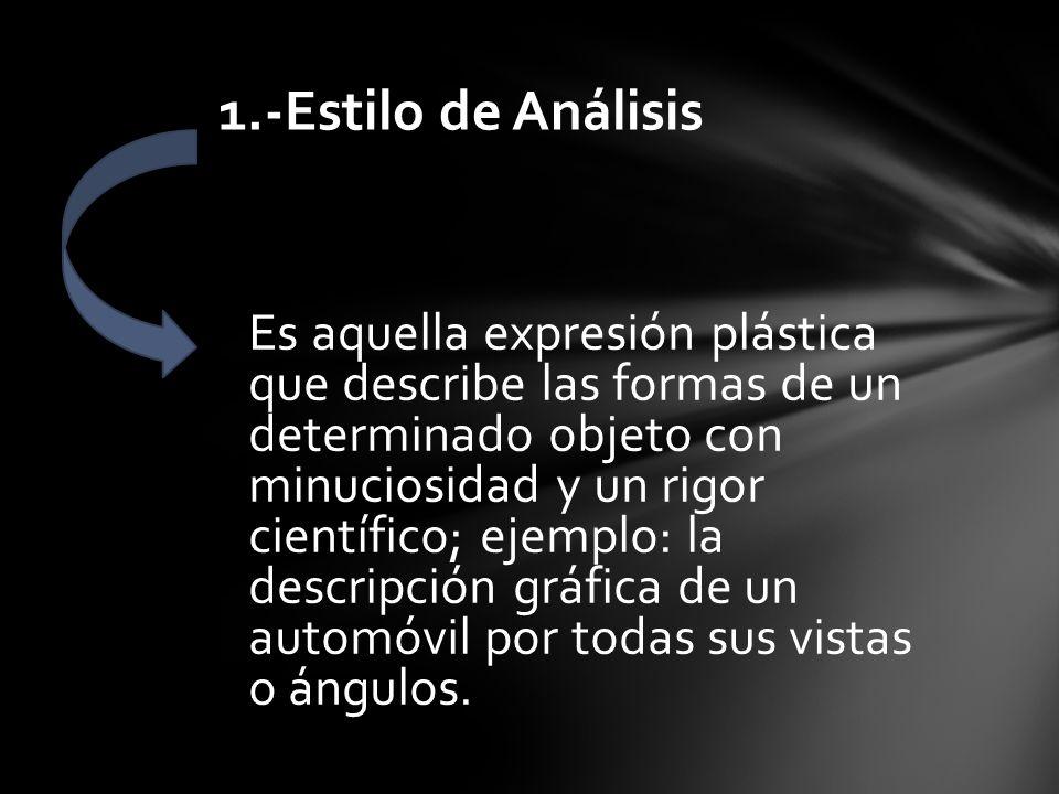 ESTILOS EN LA EXPRESION PLASTICA: Estilo de Análisis Estilo Abstracto Estilo Realista Estilo Figurativo Estilo Caricaturesco Estilo Esquemático