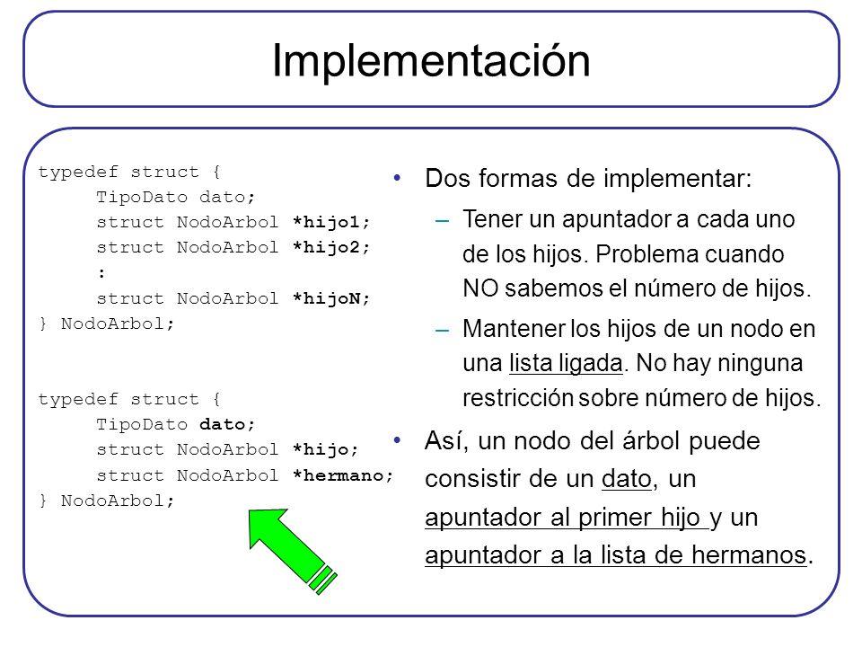 Implementación typedef struct { TipoDato dato; struct NodoArbol *hijo1; struct NodoArbol *hijo2; : struct NodoArbol *hijoN; } NodoArbol; typedef struc