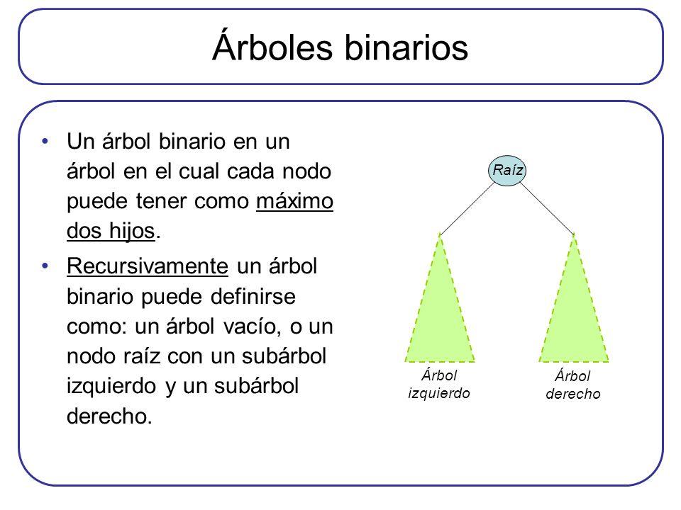 Árboles binarios Un árbol binario en un árbol en el cual cada nodo puede tener como máximo dos hijos. Recursivamente un árbol binario puede definirse