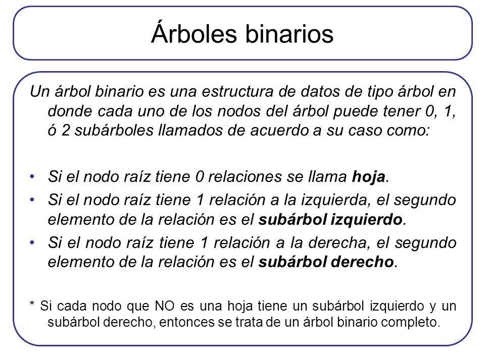 Árboles binarios Un árbol binario es una estructura de datos de tipo árbol en donde cada uno de los nodos del árbol puede tener 0, 1, ó 2 subárboles l