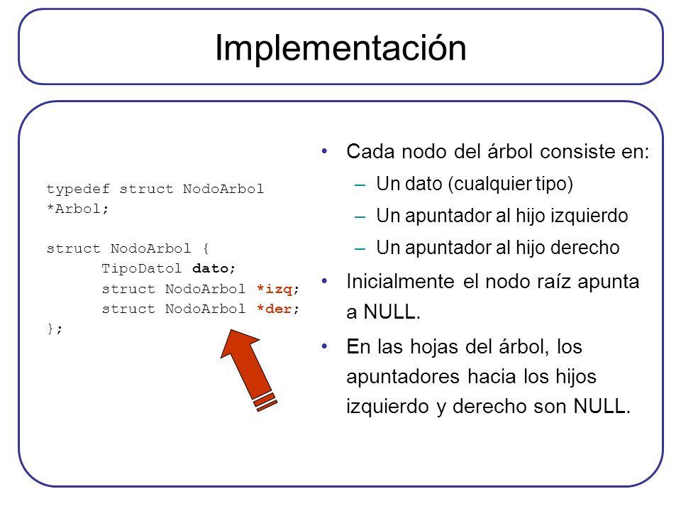 Implementación typedef struct NodoArbol *Arbol; struct NodoArbol { TipoDatol dato; struct NodoArbol *izq; struct NodoArbol *der; }; Cada nodo del árbo