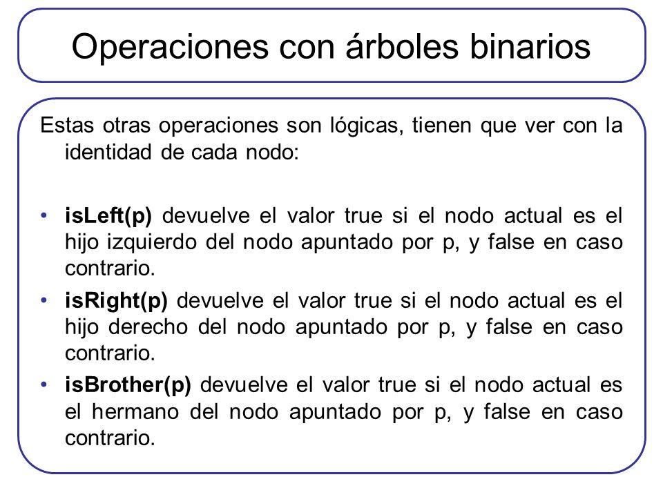 Operaciones con árboles binarios Estas otras operaciones son lógicas, tienen que ver con la identidad de cada nodo: isLeft(p) devuelve el valor true s