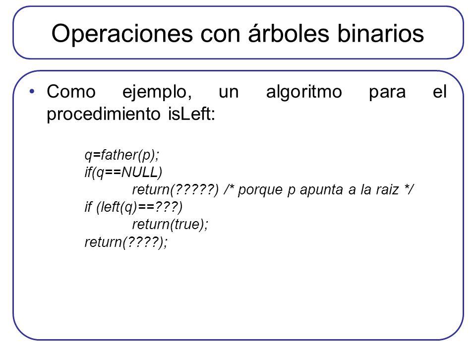Operaciones con árboles binarios Como ejemplo, un algoritmo para el procedimiento isLeft: q=father(p); if(q==NULL) return(?????) /* porque p apunta a
