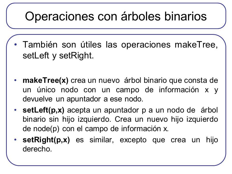 Operaciones con árboles binarios También son útiles las operaciones makeTree, setLeft y setRight. makeTree(x) crea un nuevo árbol binario que consta d