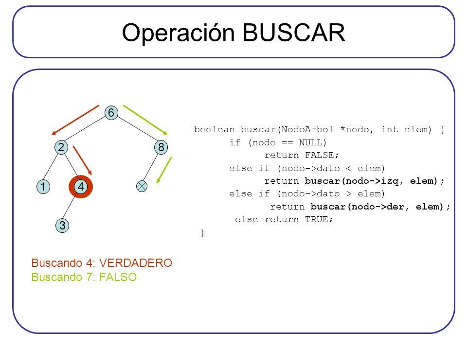 Operación BUSCAR boolean buscar(NodoArbol *nodo, int elem) { if (nodo == NULL) return FALSE; else if (nodo->dato < elem) return buscar(nodo->izq, elem