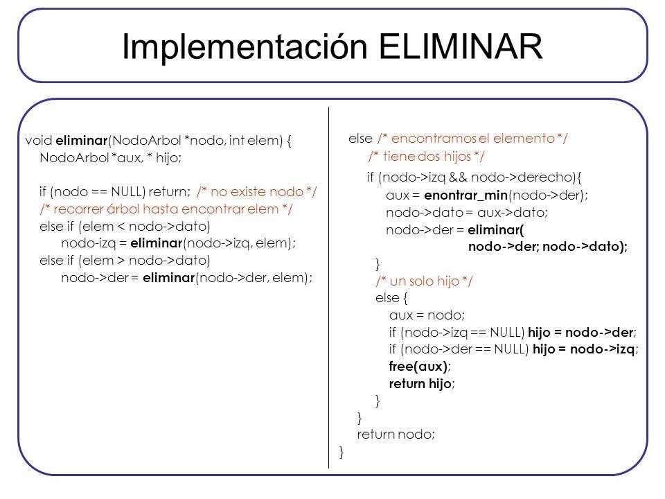 Implementación ELIMINAR void eliminar (NodoArbol *nodo, int elem) { NodoArbol *aux, * hijo; if (nodo == NULL) return; /* no existe nodo */ /* recorrer