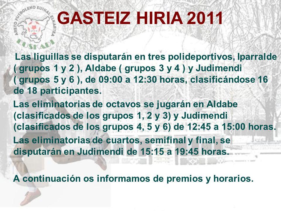 GASTEIZ HIRIA 2011 Las liguillas se disputarán en tres polideportivos, Iparralde ( grupos 1 y 2 ), Aldabe ( grupos 3 y 4 ) y Judimendi ( grupos 5 y 6