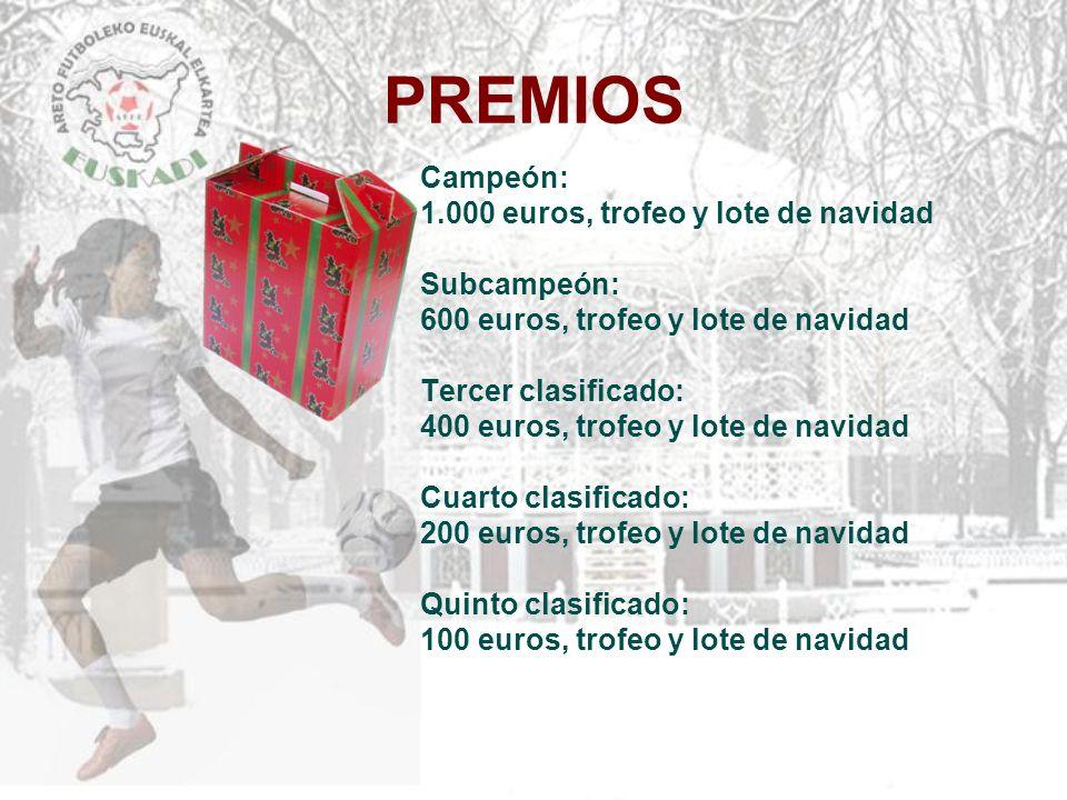 PREMIOS Campeón: 1.000 euros, trofeo y lote de navidad Subcampeón: 600 euros, trofeo y lote de navidad Tercer clasificado: 400 euros, trofeo y lote de