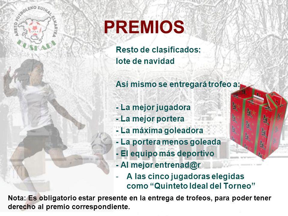 PREMIOS Resto de clasificados: lote de navidad Así mismo se entregará trofeo a: - La mejor jugadora - La mejor portera - La máxima goleadora - La port