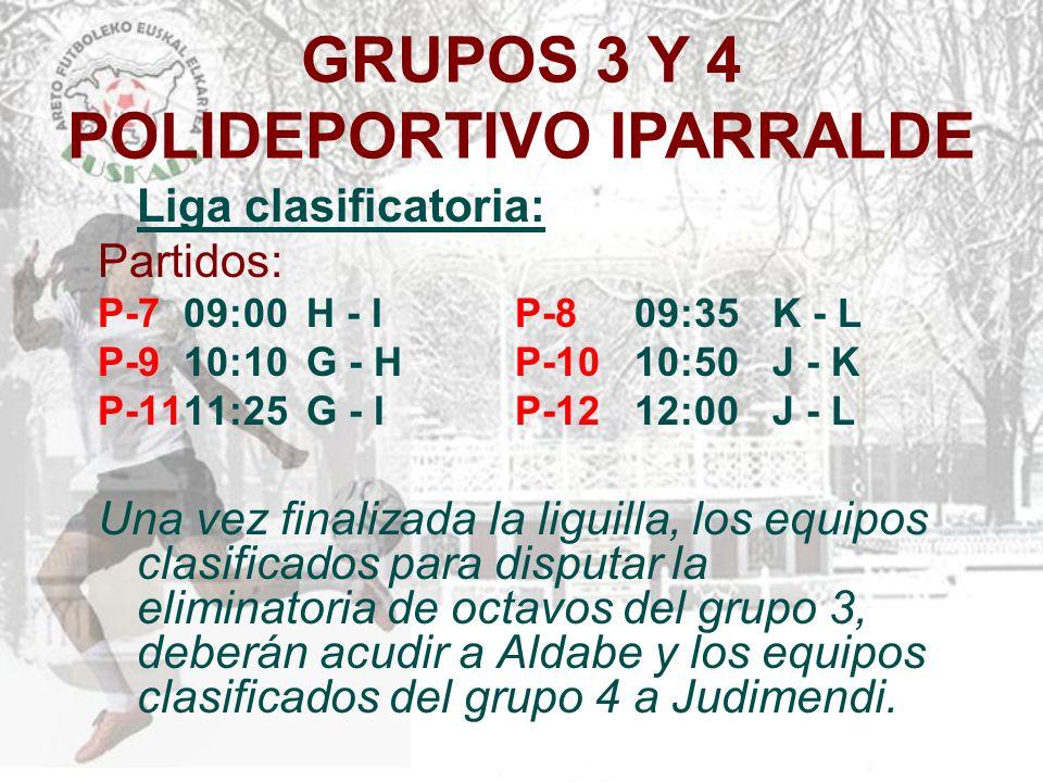 GRUPOS 3 Y 4 POLIDEPORTIVO IPARRALDE Liga clasificatoria: Partidos: P-7 09:00 H - I P-8 09:35 K - L P-9 10:10 G - H P-10 10:50 J - K P-1111:25 G - I P