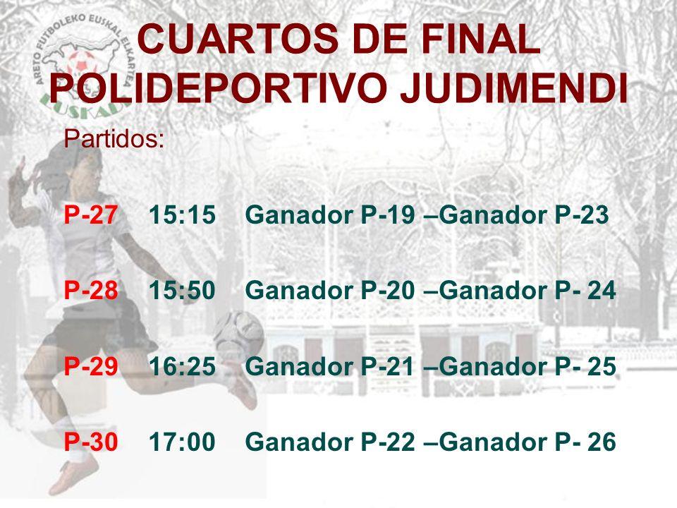 CUARTOS DE FINAL POLIDEPORTIVO JUDIMENDI Partidos: P-27 15:15 Ganador P-19 –Ganador P-23 P-28 15:50 Ganador P-20 –Ganador P- 24 P-29 16:25 Ganador P-2