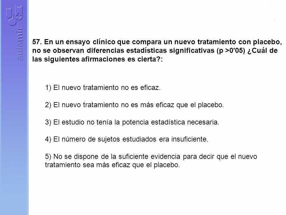 57. En un ensayo clínico que compara un nuevo tratamiento con placebo, no se observan diferencias estadísticas significativas (p >0'05) ¿Cuál de las s
