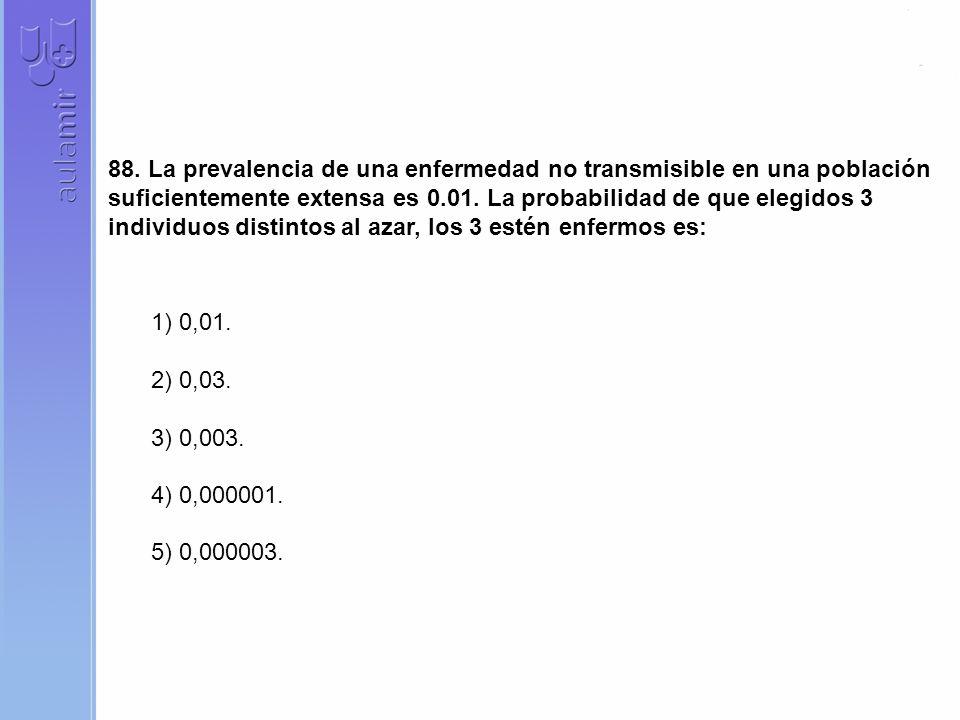 88. La prevalencia de una enfermedad no transmisible en una población suficientemente extensa es 0.01. La probabilidad de que elegidos 3 individuos di