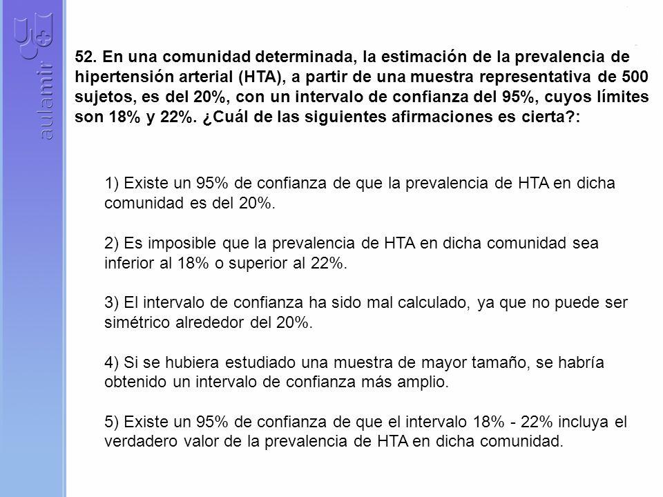 52. En una comunidad determinada, la estimación de la prevalencia de hipertensión arterial (HTA), a partir de una muestra representativa de 500 sujeto