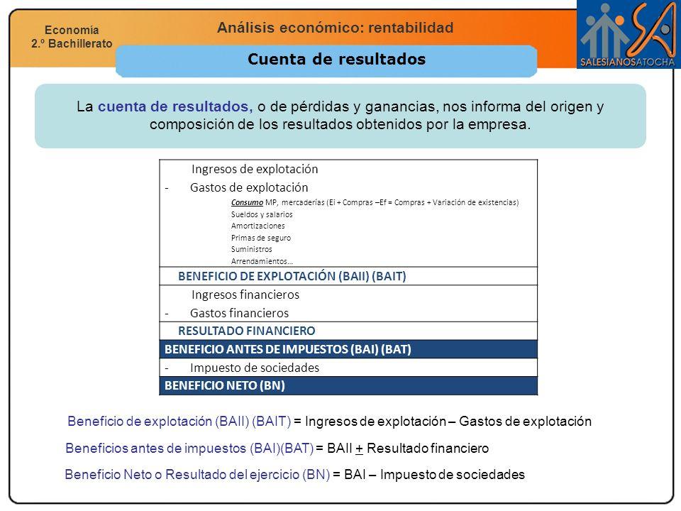 Economía 2.º Bachillerato Análisis financiero, económico y social Análisis económico: rentabilidad Economía 2.º Bachillerato Cuenta de resultados La c