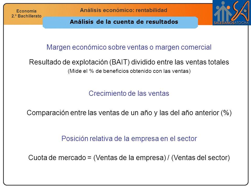Economía 2.º Bachillerato Análisis financiero, económico y social Análisis económico: rentabilidad Economía 2.º Bachillerato Análisis de la cuenta de