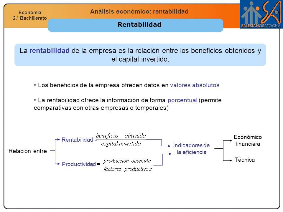 Economía 2.º Bachillerato Análisis financiero, económico y social Análisis económico: rentabilidad Economía 2.º Bachillerato Rentabilidad La rentabili