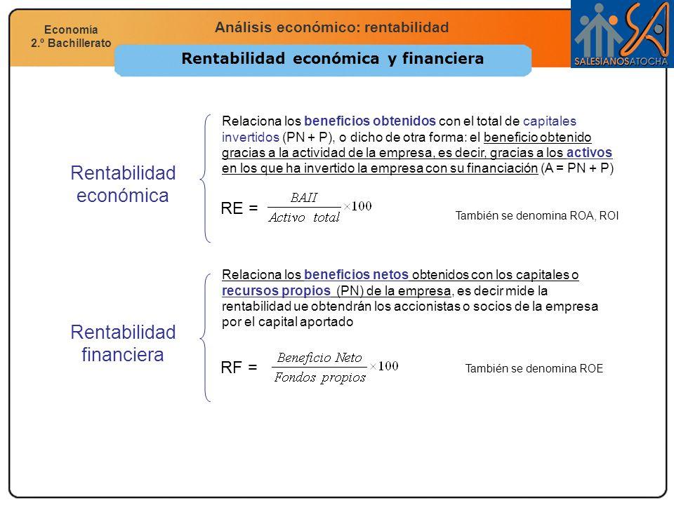 Economía 2.º Bachillerato Análisis financiero, económico y social Análisis económico: rentabilidad Economía 2.º Bachillerato Rentabilidad económica y