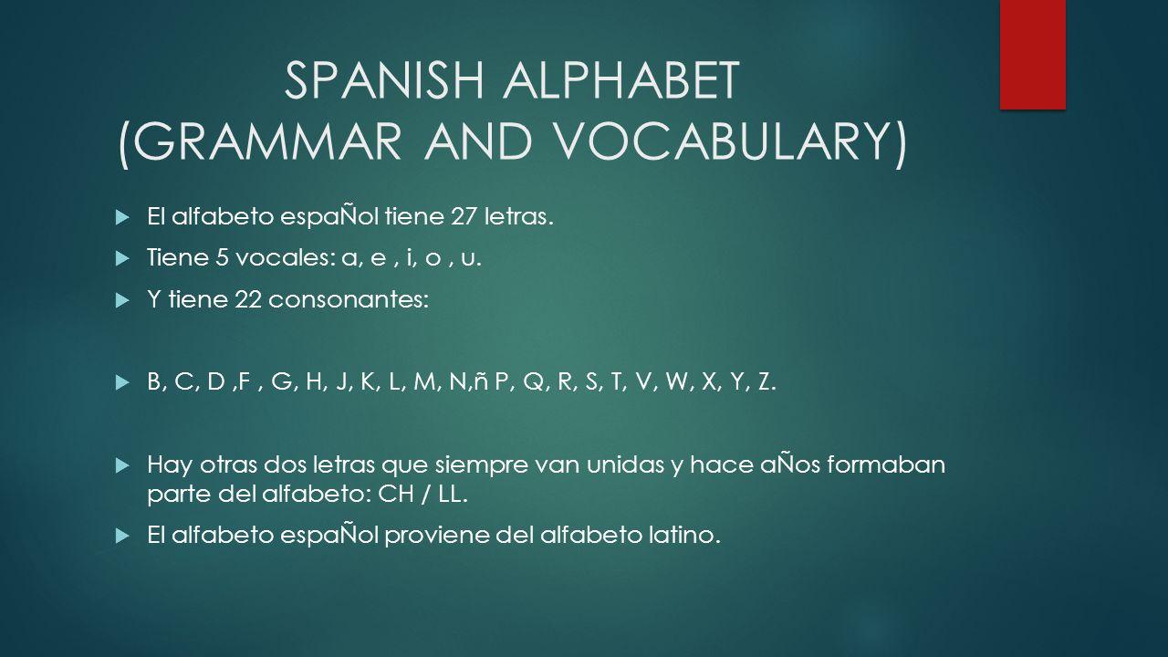 SPANISH ALPHABET (GRAMMAR AND VOCABULARY) El alfabeto espaÑol tiene 27 letras. Tiene 5 vocales: a, e, i, o, u. Y tiene 22 consonantes: B, C, D,F, G, H
