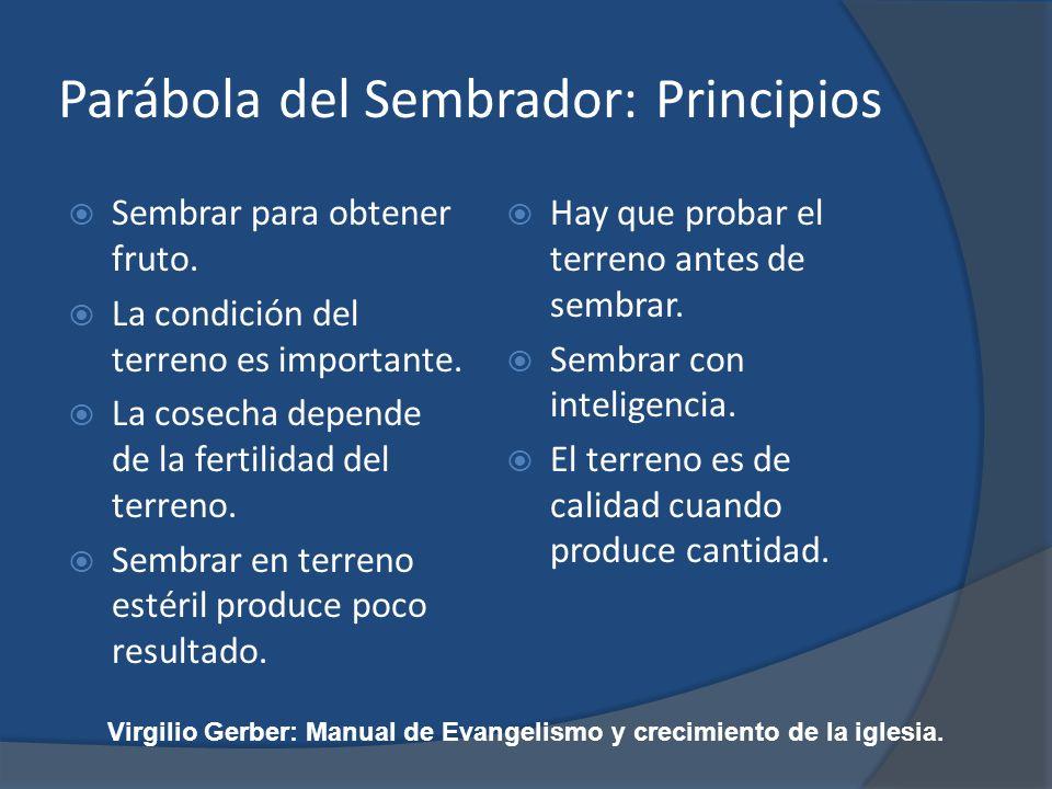 Parábola del Sembrador: Principios Sembrar para obtener fruto. La condición del terreno es importante. La cosecha depende de la fertilidad del terreno