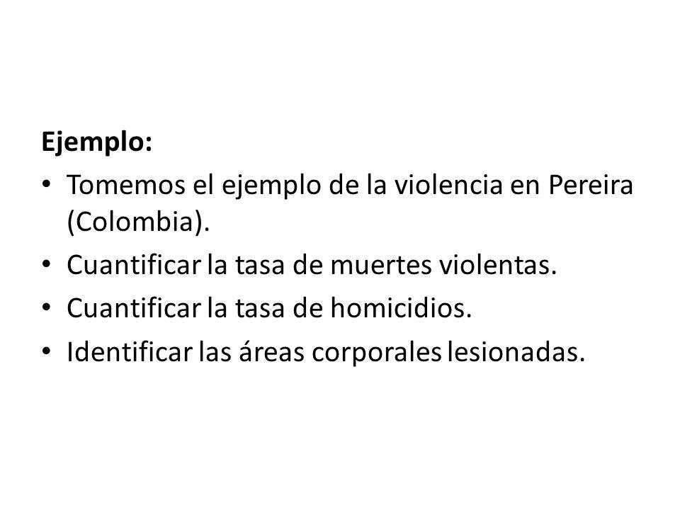 Ejemplo: Tomemos el ejemplo de la violencia en Pereira (Colombia).