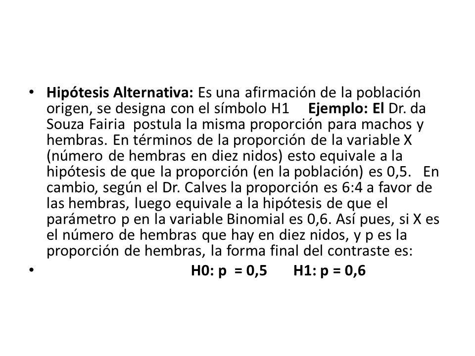 Hipótesis Alternativa: Es una afirmación de la población origen, se designa con el símbolo H1 Ejemplo: El Dr.