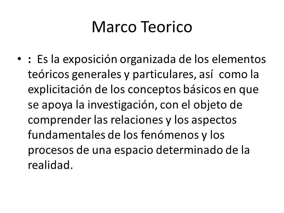 Marco Teorico : Es la exposición organizada de los elementos teóricos generales y particulares, así como la explicitación de los conceptos básicos en que se apoya la investigación, con el objeto de comprender las relaciones y los aspectos fundamentales de los fenómenos y los procesos de una espacio determinado de la realidad.