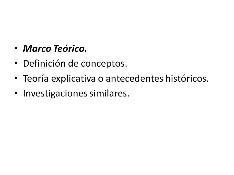 Marco Teórico.Definición de conceptos. Teoría explicativa o antecedentes históricos.