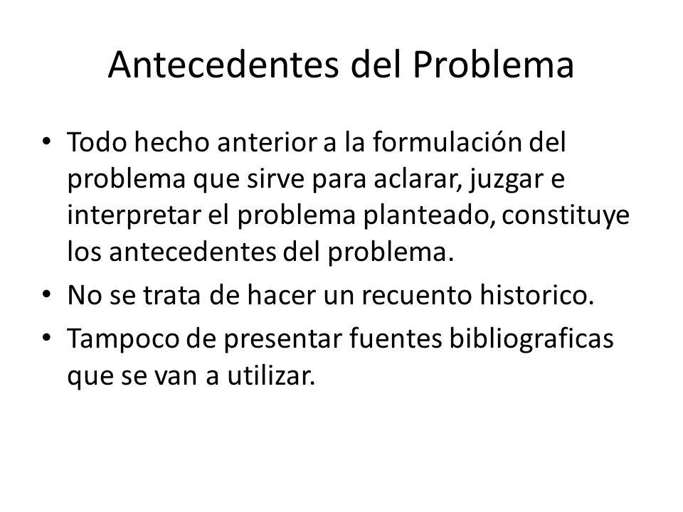 Antecedentes del Problema Todo hecho anterior a la formulación del problema que sirve para aclarar, juzgar e interpretar el problema planteado, constituye los antecedentes del problema.
