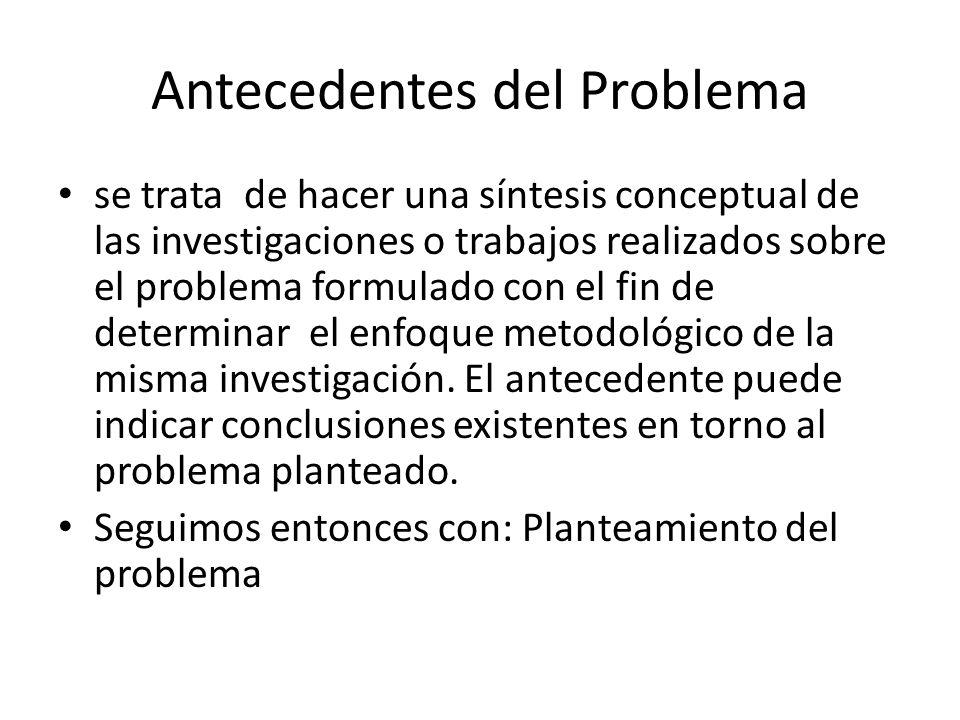 Antecedentes del Problema se trata de hacer una síntesis conceptual de las investigaciones o trabajos realizados sobre el problema formulado con el fin de determinar el enfoque metodológico de la misma investigación.