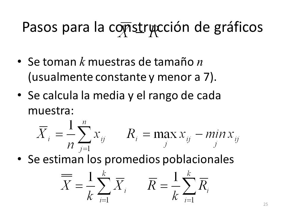 25 Pasos para la construcción de gráficos Se toman k muestras de tamaño n (usualmente constante y menor a 7). Se calcula la media y el rango de cada m